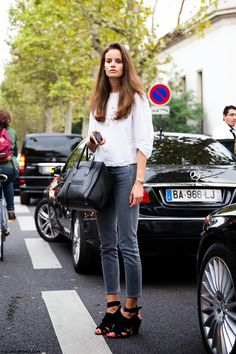 Paris. gorgeous #Celine bag and a fall staple, grey denim.