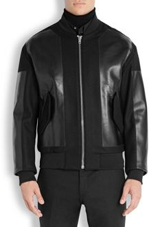 Black leather and wool blend bomber jacket - Leather Jackets - Jackets - All Clothing - Men