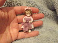 Miniature Handmade Mini Baby Girl Toddler Teddy Bear OOAK Dollhouse Doll House | eBay