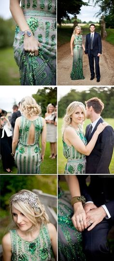 Coloured Wedding Dresses ~ Inspiration For the Bride Who Doesn't Want To Wear White  Emerald green, sequin wedding dress.  Joy by Jenny Packham  Photography by http://caughtthelight.com/philippa-james-costwolds-2/