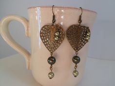 Antique gold plated hearts earrings de elbosquevintage en Etsy