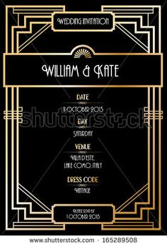 Art deco border template vectorillustration art deco lines art deco wedding invitation card vectorillustration stock vector stopboris