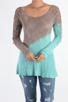 Lace Detail Arm Earth and Water Long Sleeve Top