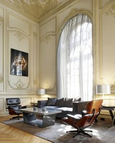 A gorgeous Paris apartment with not one but two Eames Lounge Chairs http://www.nest.co.uk/search/vitra-lounge-chair