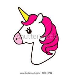 Unicorn vector icon isolated on white. Head portrait horse sticker, patch badge. Magic cartoon fantasy cute animal. Pink hair. Dream symbol. Design for children
