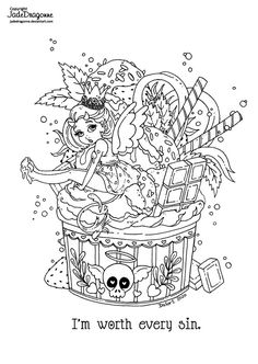 Witch Coloring Pages, Adult Coloring Book Pages, Cute Coloring Pages, Coloring For Kids, Coloring Books, Alien Drawings, Female Dragon, Digi Stamps, Art Pages