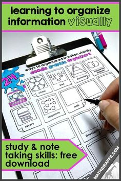 Teaching Note Taking & Study Skills - Using graphic organizers to build mental connections and increase retention Student Teaching, Math Teacher, Teaching Study Skills, Teaching Tips, Teacher Stuff, Bingo, Note Taking Strategies, Memory Strategies, Visual Note Taking