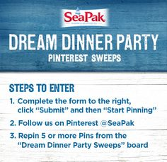 SeaPak Pinterest Sweepstakes: How to Enter @SeaPak Shrimp & Seafood Co. #DreamDinnerParty