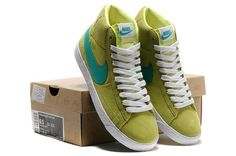 Women Nike Blazer High Vintage Suede in Green and Yellow
