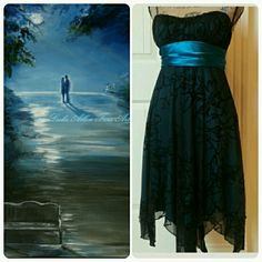 ❤HOST PICK❤Some enchanted black evening dress Dress it up so elegantly in this gorgeous dress. Teal blue green sash and underlay covered with a sparkly sheer black. Adjustable straps. Fully lined. Polyester. Speechless Dresses