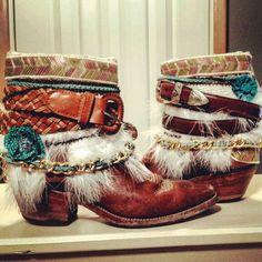 Bohemian Cowboy Boots Gypsy Boots, Boho Boots, Boho Gypsy, Bohemian, Boot Bling, Cowboy Boots, Belts, Upcycle, Kicks