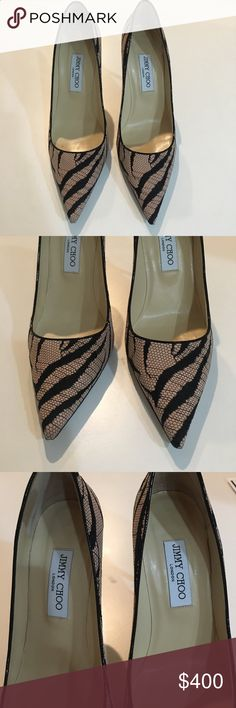 Jimmy Choo pink Abel zebra lace black suede pumps Gorgeous Jimmy Choo pink and black lace pumps. Worn only a few times in excellent condition. Size 40. Jimmy Choo Shoes Heels