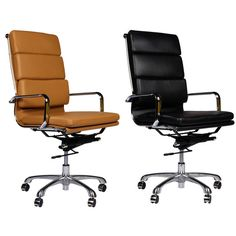 Eames Style Premium Executive Black Leather Office Chair Conference Room Chairs, Office Furniture Stores, Ergonomic Chair, Eames, Office Decor, Black Leather, Guest Room, Home Decor, Style