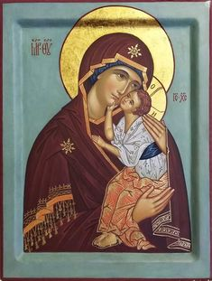 Byzantine Icons, Byzantine Art, Religious Icons, Religious Art, Archangel Raphael, Russian Icons, Blessed Mother Mary, Mary And Jesus, Madonna And Child