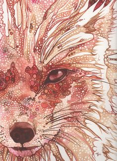 Rust Fox 4 x 6 print of hand painted detailed watercolour artwork in deep rich surreal and psychedelic orange red salmon pink earth tones. $5,00, via Etsy.