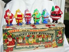 Santa's Candy Workshop with Santa and his five jaunty helpers (each came with candy sucker attached) pieces made by E. Rosen or Rosbro Plastics and distributed by Sears, Roebuck & Co. Very rare to find box and 6 figures. Old Time Christmas, Christmas In Heaven, Old Fashioned Christmas, Retro Christmas, Christmas Love, Christmas Photos, Blue Christmas Decor, Vintage Christmas Images, Antique Christmas