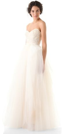 Reem Acra Eternity Strapless Dress My wedding dress. Wedding Robe, Wedding Attire, Wedding Gowns, Wedding Wishes, Wedding Bells, Perfect Wedding, Dream Wedding, Elle Magazine, Dream Dress