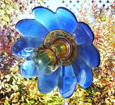 Garden Art With Old Dishes | Garden Art Flower Outdoor Decor Recycled Repurposed Glass BOBBI