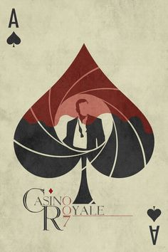 Casino Royale by Ed Burczyk. A clever combination of a casino symbol and the James Bond icon of blood floating down the gun view Soirée James Bond, James Bond Movies, James Bond Movie Posters, Casino Royale Movie, Casino Movie, James Bond Casino Royale, Casino Night Party, Casino Theme Parties, 80s Party