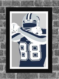 Dallas Cowboys Dez Bryant Portrait Sports Print Art by FanFourLife, $14.99