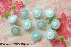 Turquoise Flower Buttons 10 Pcs, Flower Shank Button, 15mm Buttons, Turquoise Flower Shaped Buttons, Plastic Flower Buttons, Craft Buttons