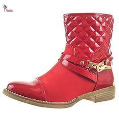 Sopily - Chaussure Mode Bottine Cavalier Bottes de Pluie Montante femmes Brillant Matelassé verni Talon bloc 2.5 CM - Rouge - FRF-J79 T 37 - Chaussures sopily (*Partner-Link)