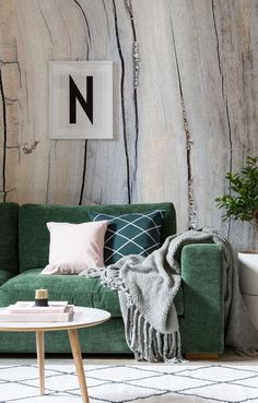 "Introduce ways of ""Hygge"" lifestyle into your home for a truly comfortable yet stylish refuge from the outdoors. A big, thick knit blanket is a must for any Hygge inspired lounge! Sofa Design, Home Living, Living Room, Home Interior, Interior Design, Green Velvet Sofa, Home Decoracion, Style Deco, Home Trends"