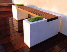 Banco y jardinera en madera y hormigón - DIY backyard concrete planter & bench Concrete Bench, Concrete Furniture, Concrete Projects, Concrete Design, Patio Design, Garden Furniture, Concrete Planter Boxes, Concrete Garden, Planter Bench