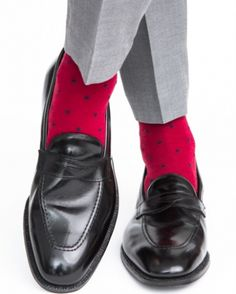 Dapper Classics Burgundy with Dress Navy Polka Dot Linked Toe Fine Merino Wool Sock