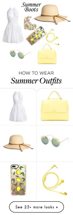 """Spring lemons. Cute spring outfit with accessorys"" by bennettgirls on Polyvore featuring Alaïa, Orciani, Full Tilt, Casetify and Happy Plugs"
