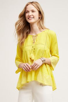 A summer-ready top in a zesty citrus hue. By Tryb, the boho-inspired, city-to-seaside collection from NYC-based designers and friends Jeffrey Cayer and Sonali Singh  - get even more style and shopping inspiration on http://jojotastic.com/shop-my-favorites/