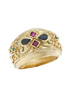 Δαχτυλίδι Βυζαντινό Χρυσό 9Κ σε Κίτρινο Χρώμα Αναφορά 020308 Δαχτυλίδι βυζαντινό από Χρυσό 9Κ σε κίτρινο χρώμα στολισμένο με συνθετικές πέτρες σε μαύρο,πράσινο και κόκκινο χρώμα. Crown, Jewelry, Fashion, Moda, Corona, Jewlery, Jewerly, Fashion Styles, Schmuck