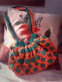 crochet bag flower purse