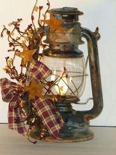 Basement decor Americana lantern