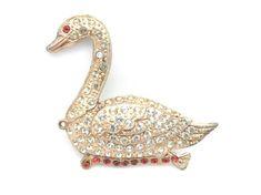 Swan Brooch - Pot Metal with Rhinestones 1930s Costume Jewelry