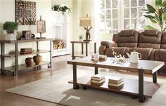 Northwood Brown Wood Coffee Table Set