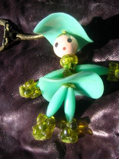 Keyring Mid Century Whimsical Plastic Cowgirl Brass  Flamenco Dancer Doll Teal Green Moss backpack thing country western play dress up games