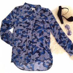 Two by Vince Camuto Blue Grey Camo Shirt Classic button down silky shirt blouse. Size medium. Abstract blue and gray camo print. Perfect for so many occasions and in great condition. Vince Camuto Tops Button Down Shirts
