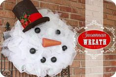 How to make this  {Mesh Snowman Wreath}