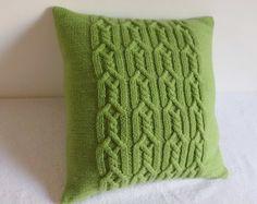 Ziergrün stricken Wurfkissen, Frühling, die grünen Kissenbezug, Hand Kopfkissenbezug, grüne Couch Kissen gestrickt