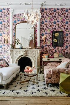 STILL CONSIDER TURNING COUCHES SIDEWAYS! Busy but gorgeous floral Parisian room