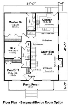 3 Bedroom House Floor Plan tuscan houses house plans 3 bedroom two bath 3 car garage chicago peoria springfield illinois rockford Bungalow Cottage Country Traditional House Plan 74001