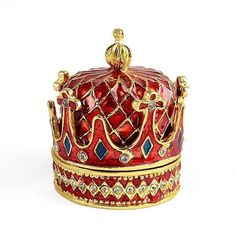 This fancy red and gold crown is fit for a king! It opens up so you can keep small items inside. The outside is decorated with sparkling clear crystals, vibrant hand-painted enamel, and shiny gold plating. This pewter based trinket box is fun to own, so g Egg Shell Art, Imperial Crown, Royal Red, Gold Crown, Gold Plating, Red Hats, Elegant Woman, Trinket Boxes, Clear Crystal