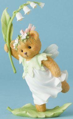Cherished Teddies TEDDY BEAR GIRL RUNNING WITH LILIES Figurine NIB