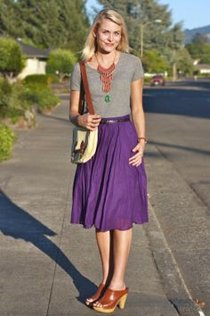 purple and grey, statement necklace