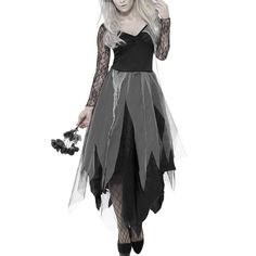 Scorpiuse Halloween Zombie Bride Costume Ghost Corpse Bride Dress for Adult Women - Goth style halloween costume. Easy and cheap ideas for halloween party Costume Halloween, Zombie Bride Costume, Halloween Costume Accessories, Halloween Fancy Dress, Halloween Graveyard, Halloween Zombie, Halloween Stuff, Skeleton Costumes, Zombie Makeup