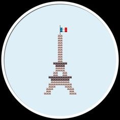 A Mini Eiffel Tower counted cross stitch pattern  You can use this cross stitch pattern to decorate your walls as well as to personalize your