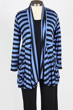 Pocket Cardigan -- Black and Cornflower Stripe.  Comfy USA, $104.00.