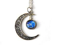 Gliederketten - Kette Sternzeichen Fische & Name in Mond - ein Designerstück von csoMunich bei DaWanda