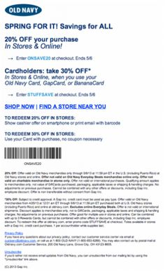 It looks like you're interested in our Old Navy Coupons 20 Off Sale. We also offer many different Old Navy Coupons on our site, so check us out now and get to printing! Old Navy Coupon, Printable Coupons, Printables, Off Sale, 20 Off, Saving Money, Marketing, Shop, Print Templates